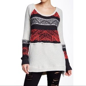 Free People Snow Angel Gray, Black & Red Tunic